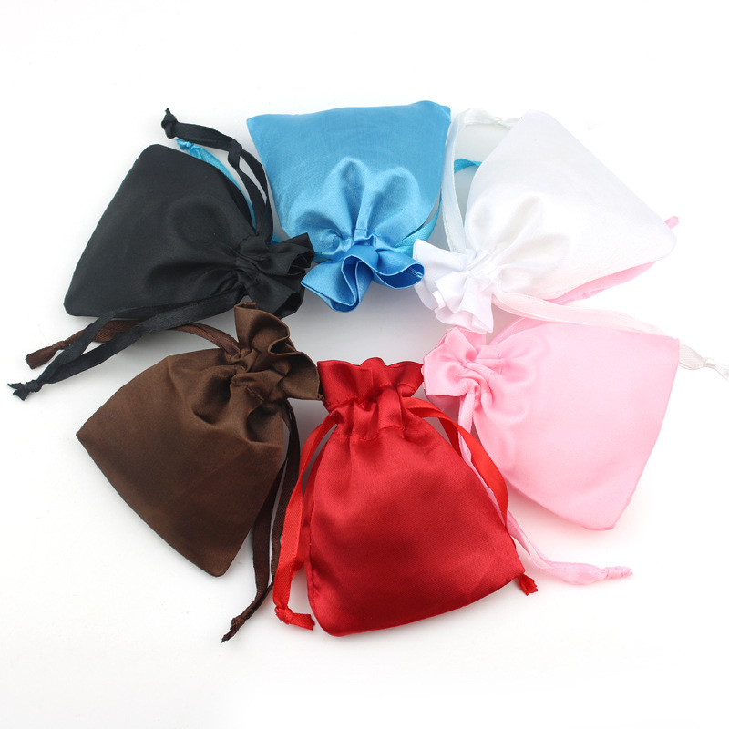 10pcs Drawable Ornament Satin Packaging Bags 10x8cm Blue/Red/White/Brown Wedding Christmas Silk Storage Gift Bag Jewelry Pouches