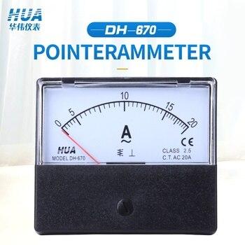 DH-670 AC Amperímetro 1A 2A 3A 5A 10A 15A 20A 30A 50A Analógico Ponteiro do medidor/medidor de Corrente