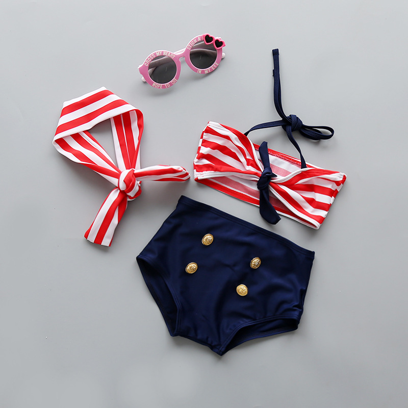 KID'S Swimwear GIRL'S Split Type Infant Princess Young Children Baby Stripes Cute Black And White Bikini GIRL'S Swimming Suit