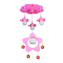 Pink Flower Cartoon Celling Lamps Girls Bedroom Chandelier Kids Hanging Creative Household Art Light Fixtures