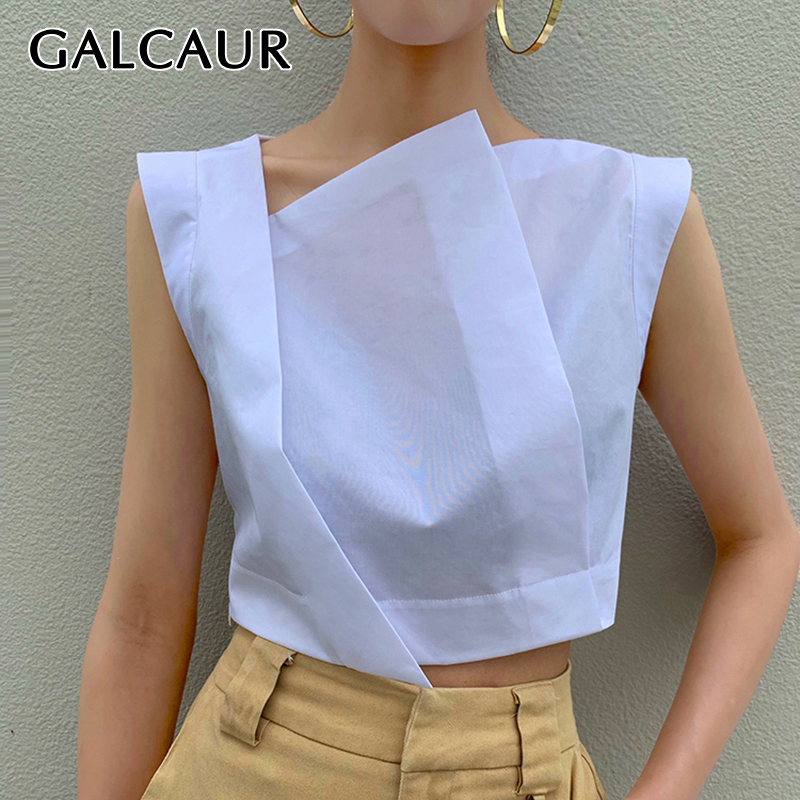 TWOTWINSTYLE White Irregular Women's Shirts Skew Collar Sleeveless Korean Shirt Blouse Female 2019 Summer Oversized Fashion New