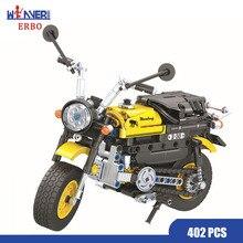 ERBO 402pcs Technic Building Block Mini Motorcycle Motocross 1:6 Model DIY Locomotive Intelligent Toys for Boys