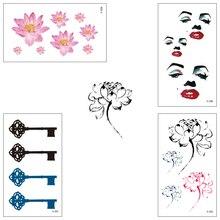 wholesale Temporary tattoo Water Transfer Anchor Flower Flag Sticker Boy girl Beauty Sexy Cool Body Art 100 piece/lot X312-336