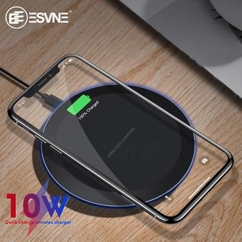 Chargeur sans fil rapide ESVNE 10W pour iPhone X Xs MAX XR 8 plus charge pour Samsung S8 S9 plus Note 9 8 chargeur de téléphone USB Qi