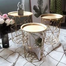Mesa de centro de Metal sofá de sala de estar mesa auxiliar cesta de almacenamiento sucio mesa de té mesa de consola Mesa minimalista muebles bandeja de Tv