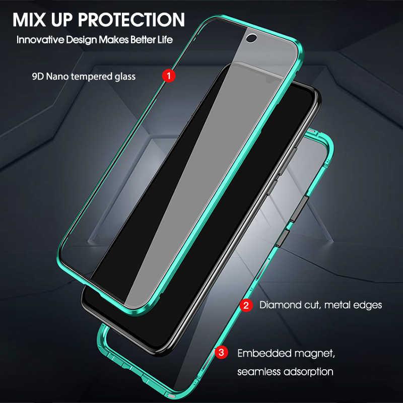 Çift taraflı temperli cam kılıfları Xiaomi Redmi için not 8 7 10 K20 Pro manyetik Metal telefon koruyucu redmi 8A 7 tam kapak