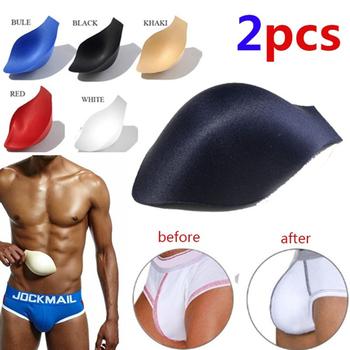 2 sztuk bielizna męska Pad bielizna męska kubki kąpielówki kształtowanie powiększ Underpa klocki bielizna męska oddychające podkładki z gąbki tanie i dobre opinie LEQEMAO Men Underwear Pad Stałe Poliester