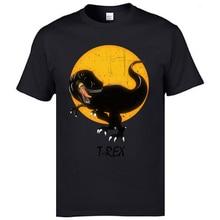 Camisetas de manga corta Vintage/Camiseta de algodón de Luna t-rex Camiseta cómoda para hombres de alta calidad streetwear