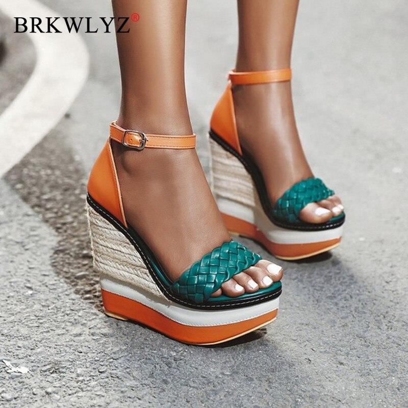 Super High Women Summer Wedge Sandals Female Platform Fashion High Heel Sandals Ankle Strap Open Toe Ladies Shoes Size 43
