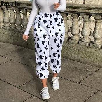 Rapwriter dorywczo mleko nadruk z krową spodnie damskie 2020 elastyczne spodnie z wysokim stanem luźne spodnie biegaczy kobiety harajuku Pantalon Femme