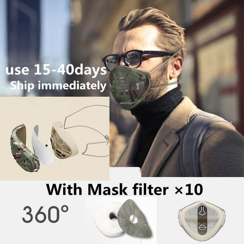 Fast Shipping Mask PM2.5 Dustproof Mouth Nose Disconnect-type Mask With 10pcs Activated Carbon Filter Patented Product Face Mask