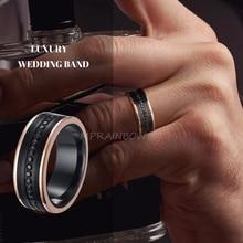 Luxe Wedding Band Tungsten Carbide Ring 8Mm Black Cz Stone Rose Gold Side Mannen Eternity Super Sieraden