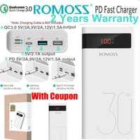 Batterie externe Romoss 30000mah PD QC 3.0 chargeur rapide 9V 12V pour iPhone 8 X Macbook Samsung S9 Note 9 Mobile