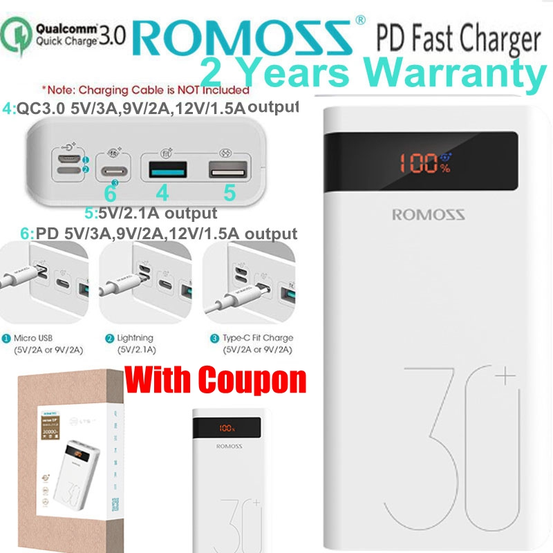 Romoss 30000 mah power bank pd carga rápida 3.0 powerbank 30000 mah para o iphone 8 x samsung s10 nota 9 huawei telefone carga rápida