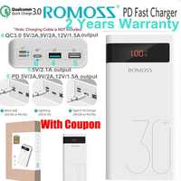 Romoss 30000 mah batterie externe PD Charge rapide 3.0 Powerbank 30000 mah pour iPhone 8 X Samsung S10 Note 9 Huawei téléphone Charge rapide