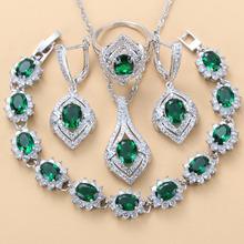 Kolor srebrny naturalny kamień CZ zielona biżuteria zestawy dla kobiet modny kostium bransoletka długość 18 + 3 CM rozmiar pierścionka 6 7 8 9 10 tanie tanio Manny Della Miedziane CN (pochodzenie) Kobiety Kamień półszlachetny TRENDY Pendant Chain Necklace Earring Ring Bracelet