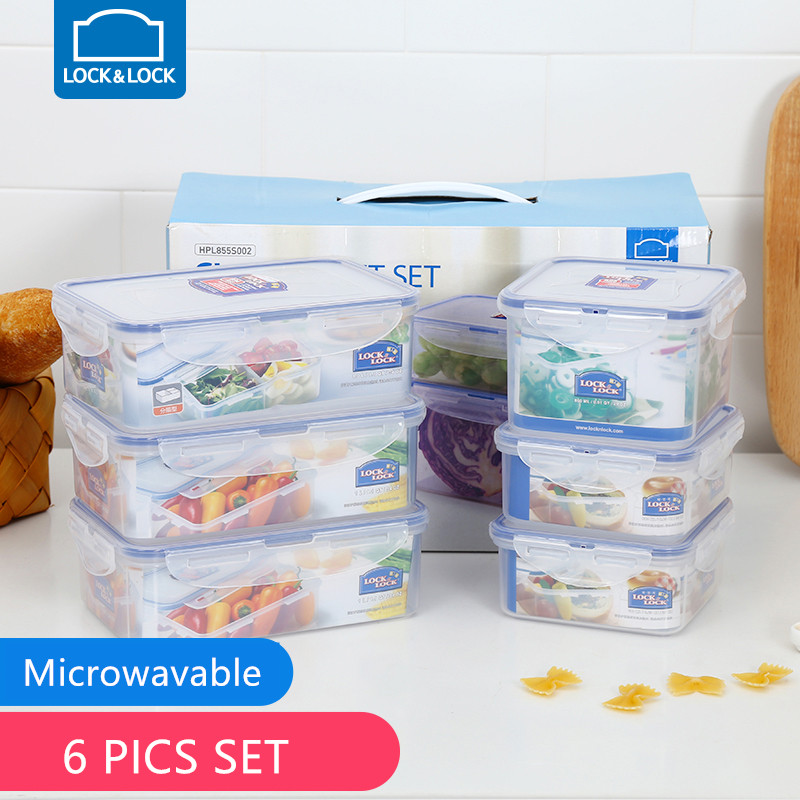 Lock& Lock Sealed Lunch Box Leakproof Foods Fruits Vegetable Storage Containers Microwavable Bento Box  HPL855S002