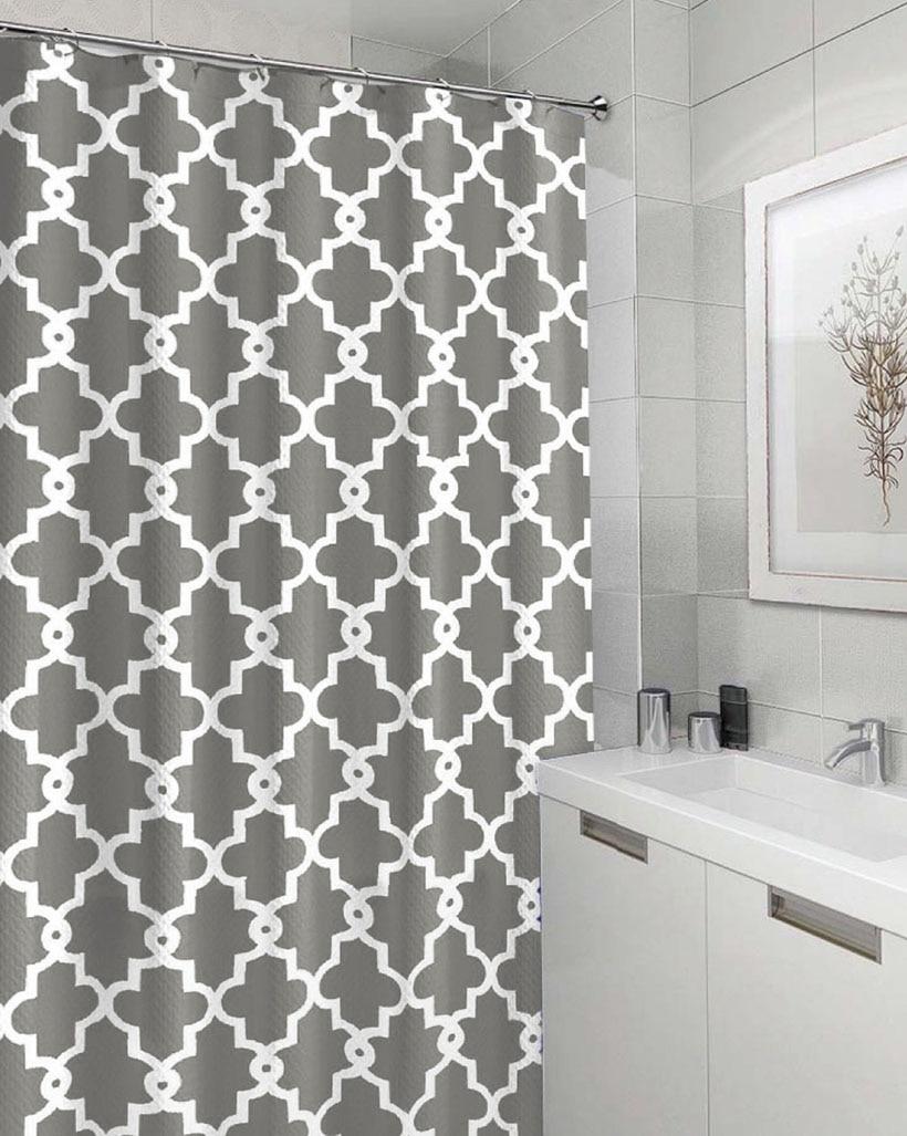 Bath Bathroom Polyester Stripe Shower Curtains With Hooks 180 x 180cm