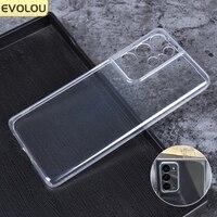 Funda protectora de cámara para Samsung S21 Ultra 5G, funda de silicona transparente para S21 Plus, fundas ultrafinas de TPU suave, transparente