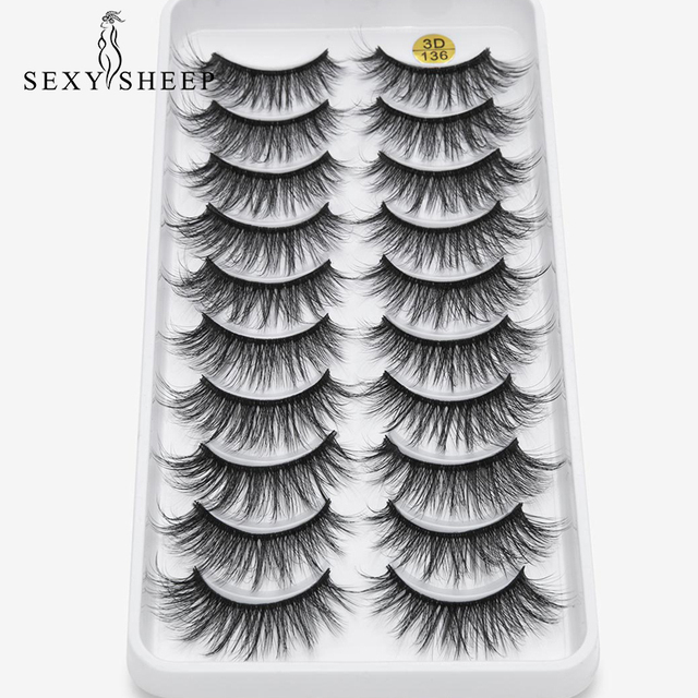 8/10 Pairs Eyelashs Natural long 3D Faux Mink Eyelashes Thick HandMade Full Strip Lashes Volume Soft Mink Lashes False Eyelashes 1