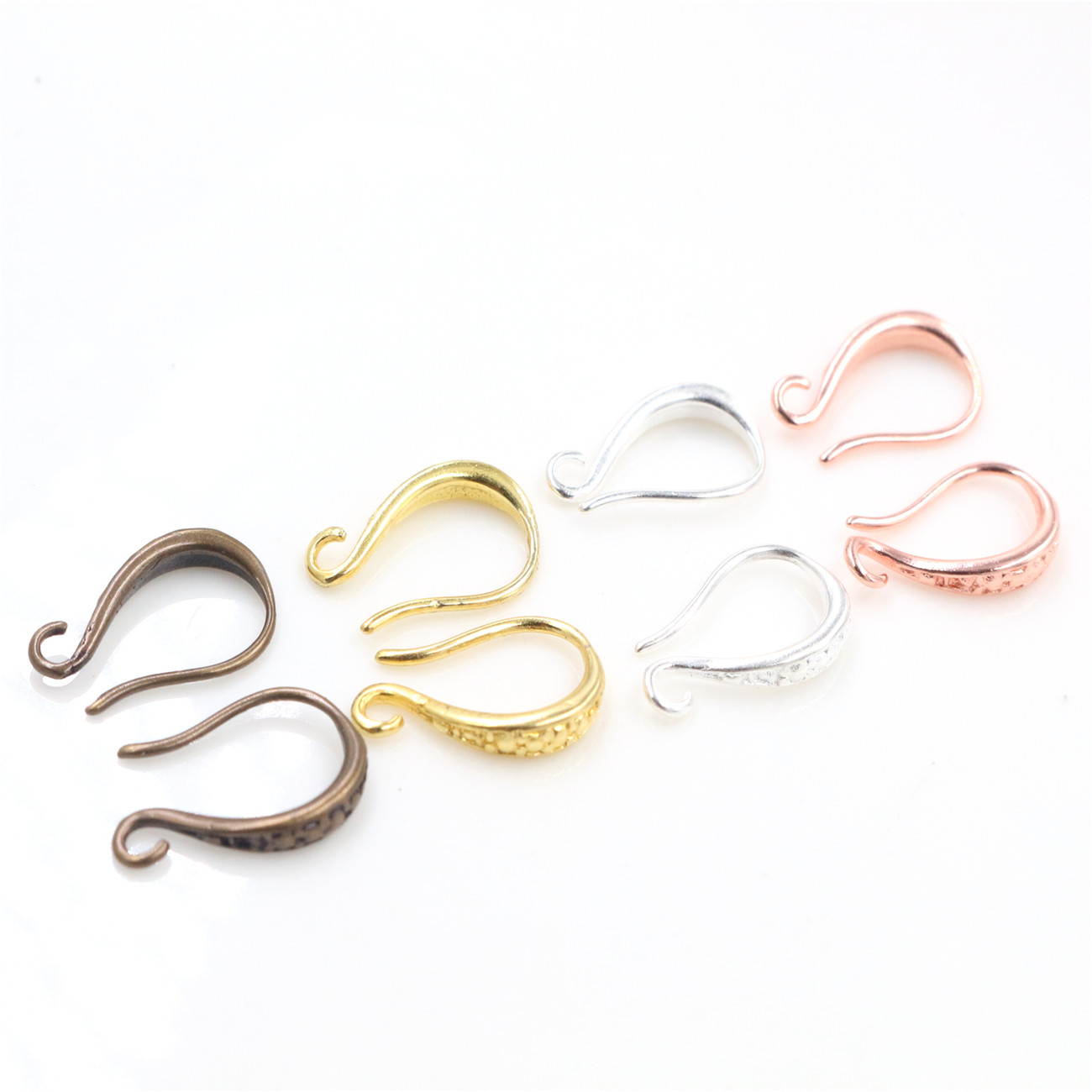 15x10mm 20pcs (10 Pair) High Quality Silver Bronze Rose Gold Plated Brass Earring Hooks Wire Settings Base Settings Whole Sale