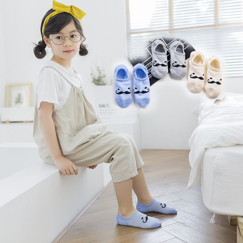 Korean-style Mesh Children No-show Socks Combed Cotton Mixed Colors Cartoon Stripes Shallow Mouth Socks Embroidered Heart BABY'S