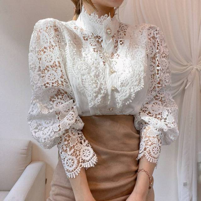 Gizmosy Chic Button Hollow Out Flower Lace Patchwork Shirt Stand Collar All-match Femme Blusas Petal Sleeve Women Blouses 4