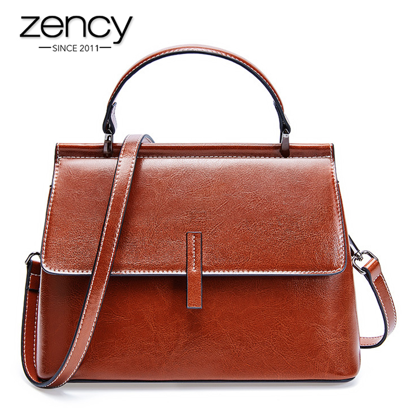 Zency 100% Genuine Leather Retro Brown Women Tote Bag Small Flap Daily Casual Shoulder Messenger Bags Black Grey Handbag