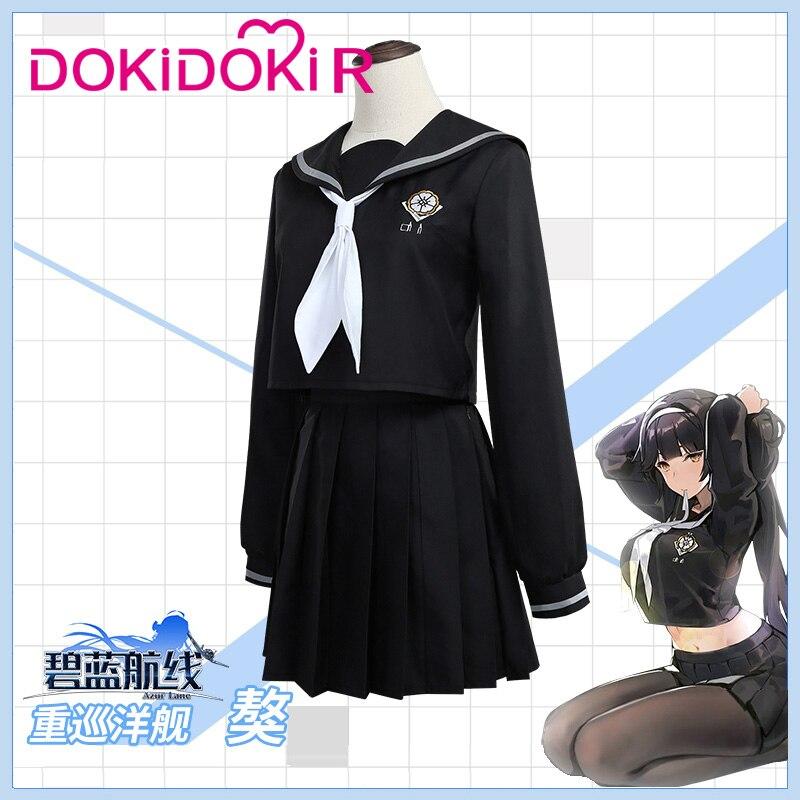 DokiDoki-R Game Cosplay Azur Lane IJN Takao JK Costume Women Azur Lane IJN Takao  Cosplay Costume Halloween 2
