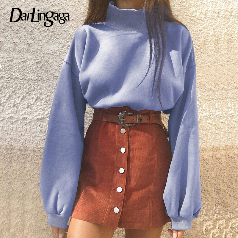 Darlingaga Korean Casual High Neck Pullover Sweatshirt Tops Lantern Sleeve Harajuku Cropped Sweatshirts Autumn Winter Hoody 2019