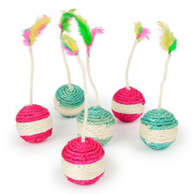 Pet Cat Kitten Toy Rolling Sisal Scratching ball Funny Play Dolls Tumbler Ball Toys Interactive Feather