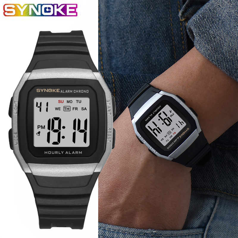 SYNOKE Sport Watches Clock Alarm Digital Waterproof Electronic Display Male Men's Man title=