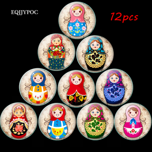 12 Uds muñeca rusa imán de nevera muñecas Matryoshka cúpula de vidrio nota titular adhesivo magnético para nevera decoración del hogar de Navidad