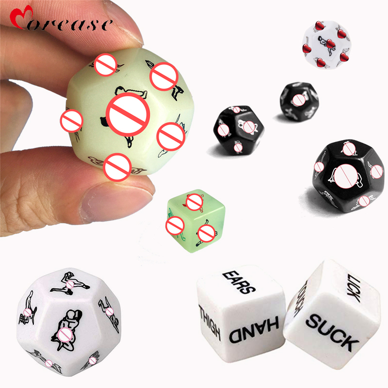 Morease No Vibrator 6Pcs Funny Sex Dice 6-12 Side Erotic Toys Sex Glow Cube Love Dice Toy Adult Sex Toy Noctilucent Couples Dice