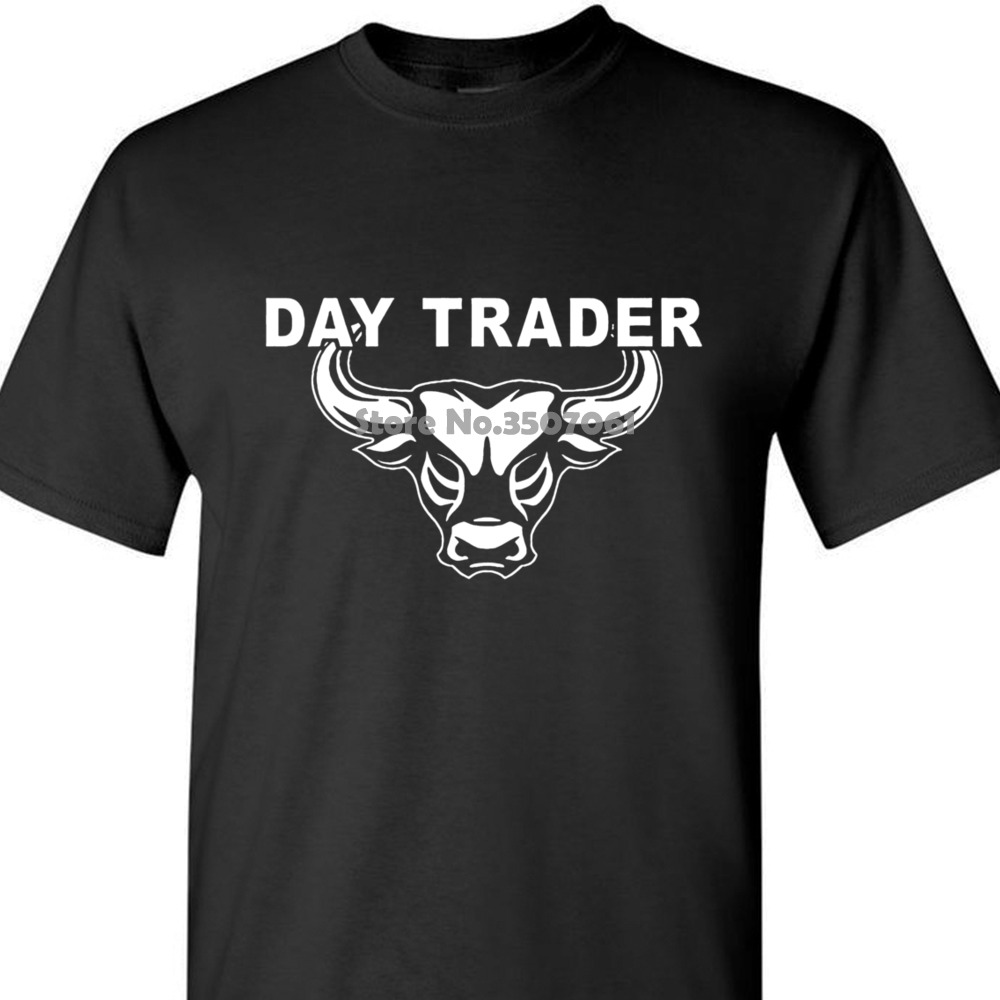 Adult tshirt S-2Xl Day Trader T Shirt Wall Street Mad Stock Market Trading Cramer Money Tee Bull Bear Jim coat clothes tops image