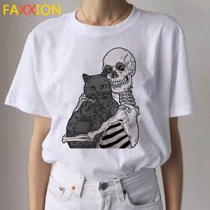 Image 4 - 2020 Kawaii 고양이 재미 있은 만화 T 셔츠 여성 Ullzang 캐주얼 T 셔츠 귀여운 90s 인쇄 Tshirt 패션 톱 티 여성