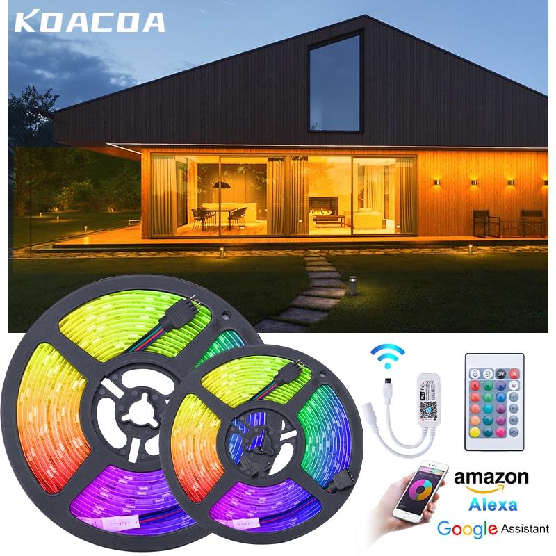 5M 10M 15M WIFI Led Strip Light SMD RGB 2835 5050 RGB Tape DC12V led strip Ribbon Diode Wifi Waterproof Controller Adapter Plug