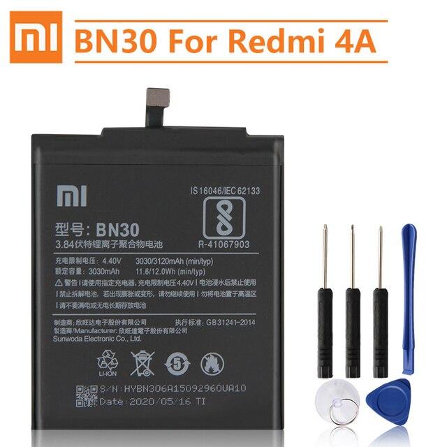 Bateria de substituição original bn30 de xiao mi para xiaomi mi redrice hongmi 4a telefone autêntico bateria 3120mah