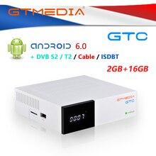 Caixa androdid da tevê de gtmedia gtc com decodificador DVB S2/t2/c ISDB T amlogic s905d android 6.0 2gb + 16gb wifi bt 4.0