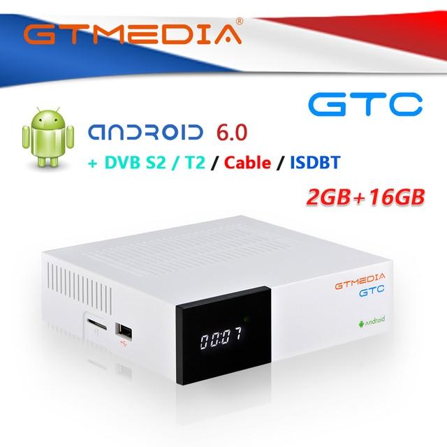 GTMedia GTC Androdid صندوق التلفزيون مع استقبال الأقمار الصناعية فك DVB S2/T2/C ISDB T Amlogic S905D أندرويد 6.0 2GB + 16GB واي فاي BT 4.0