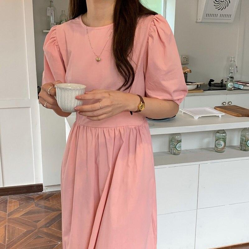 H05904a164d0e413484a70a70e102df55t - Summer O-Neck Short Sleeves Elastic-Waist Calf Length Solid Dress