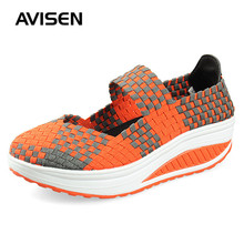 2019 Summer Women Platform Shoes Breathable Handmade Woven Multi Colors Casual Wedge Female Sneakers
