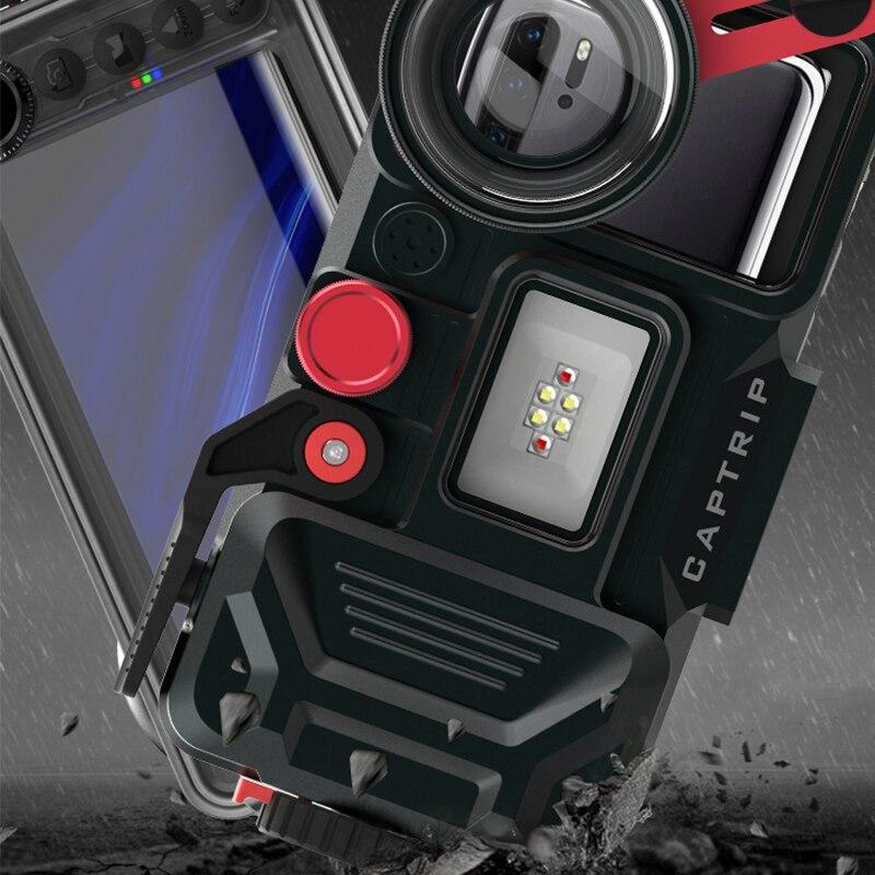 In lega di alluminio Caso di Immersione Per Huawei P6 P7 P8 P9 P10 P20 P30 Lite Plus pro mini Copertura subacquea Impermeabile fotografia - 2