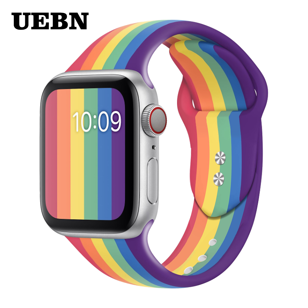 UEBN Silicone Sport Band For Apple Watch 38 42 40 44mm Pride Edition Replaceable Strap For Iwatch Series 5 4 3 2 1 Watchbands