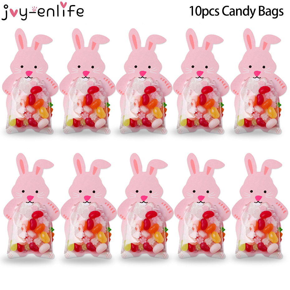10pcs Easter Party Decorations Pink Rabbit Candy Bags Box Cookie Bags DIY Gift Bags With Greeting Cards Wedding Decors
