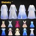 Phantasie Mädchen Elsa Prinzessin Kleid Kinder Geburtstag Party Elegante Mädchen Strand Agent Kleid Schnee Königin Vestidos Elsa 2 Kostüm mit perücke
