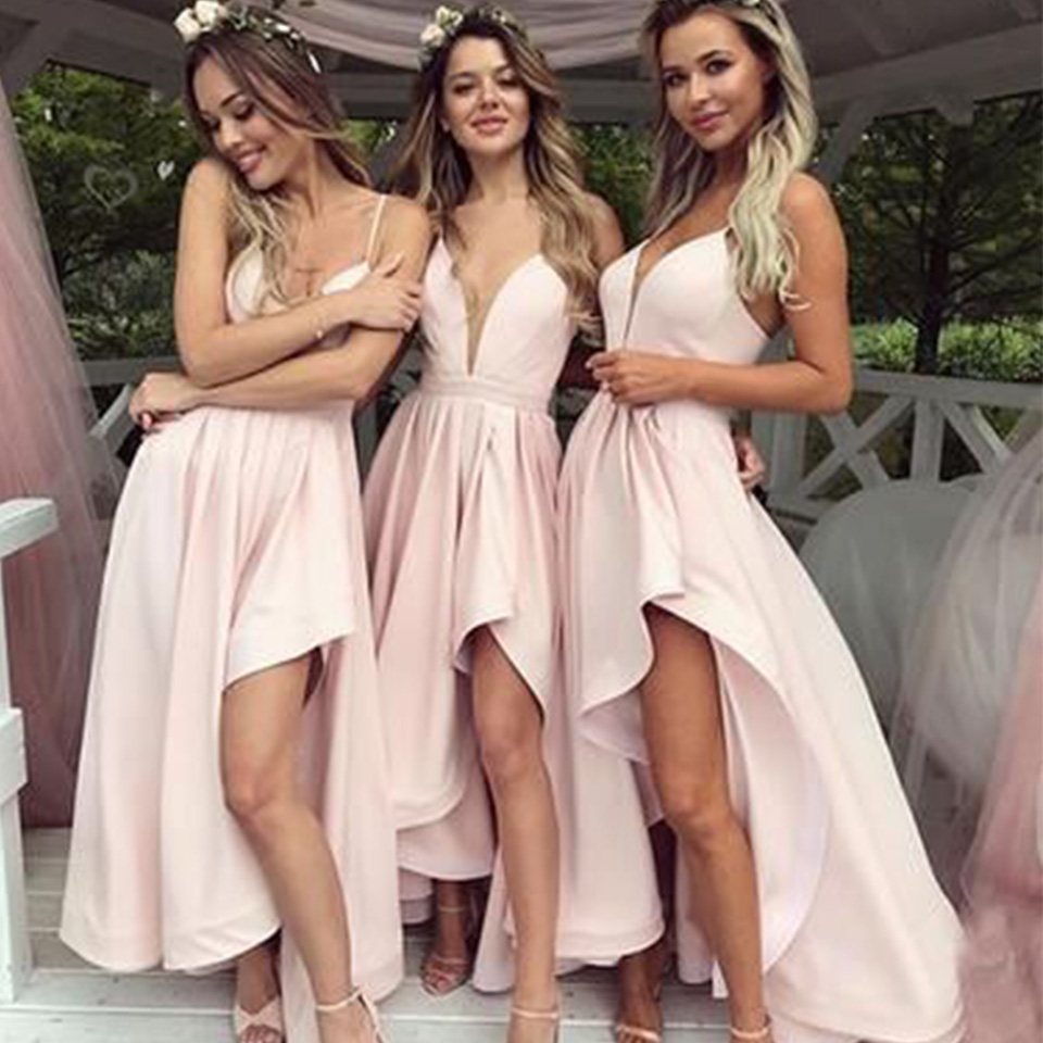 Real Rill V-Neck   Bridesmaid     Dresses   Spaghetti Straps Lace Up Back High-Low Chiffon Long Wedding Guest   Dress   For Wedding Party