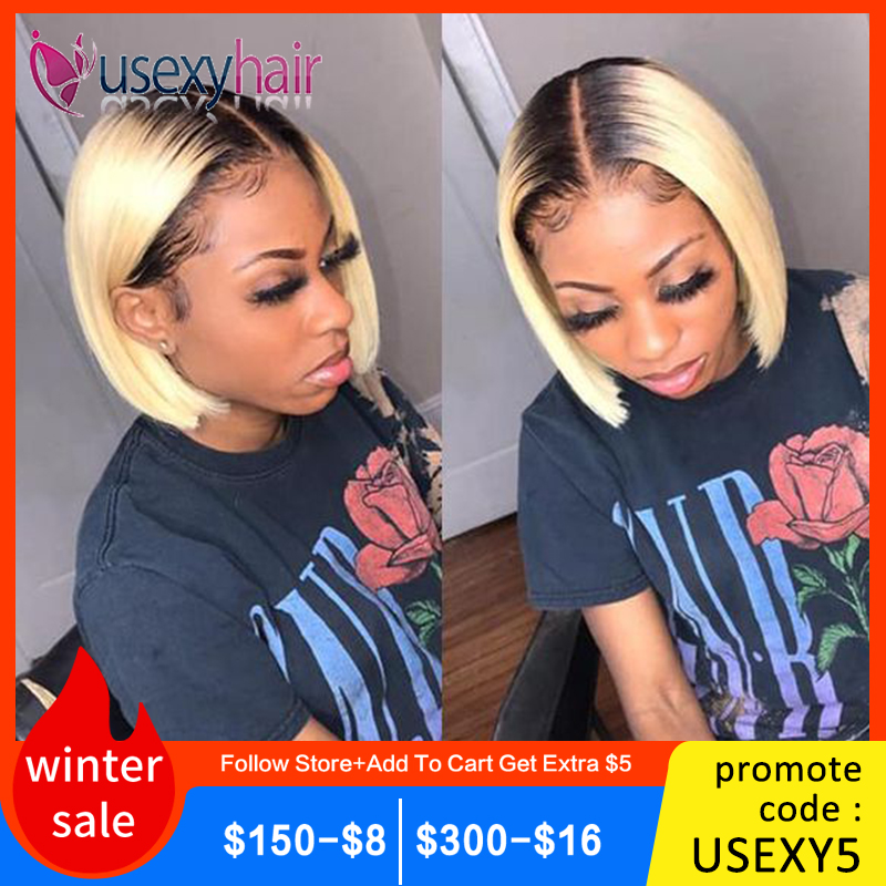 13x4 Blonde Lace Front Wig Brazilian 1B 613 Short Bob Lace Front Human Hair Wigs For Black Women Transparent Lace Front Wig