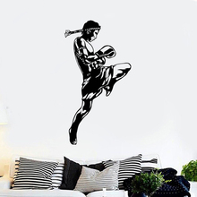 Sports Wall Sticker Gym Decoration Boxing Design Art Mural Muay Thai Vinyl Posters Removable  AY1956