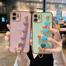 Plating Metal Heart Bracelet Soft Camera Protection Phone Cases For iphone 12 Pro Max 11 MiNi XR X XS Max 7 8 plus SE 2020 Cover